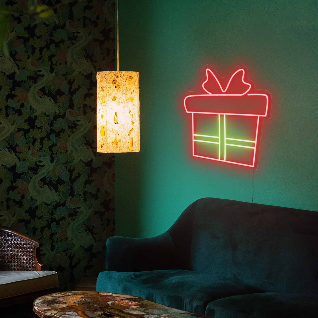 "Christmas Gift The Neon Studio Large: W 95cm * H 100cm / 37"" 39"" Red & Green Clear Acrylic - Shape of Design"
