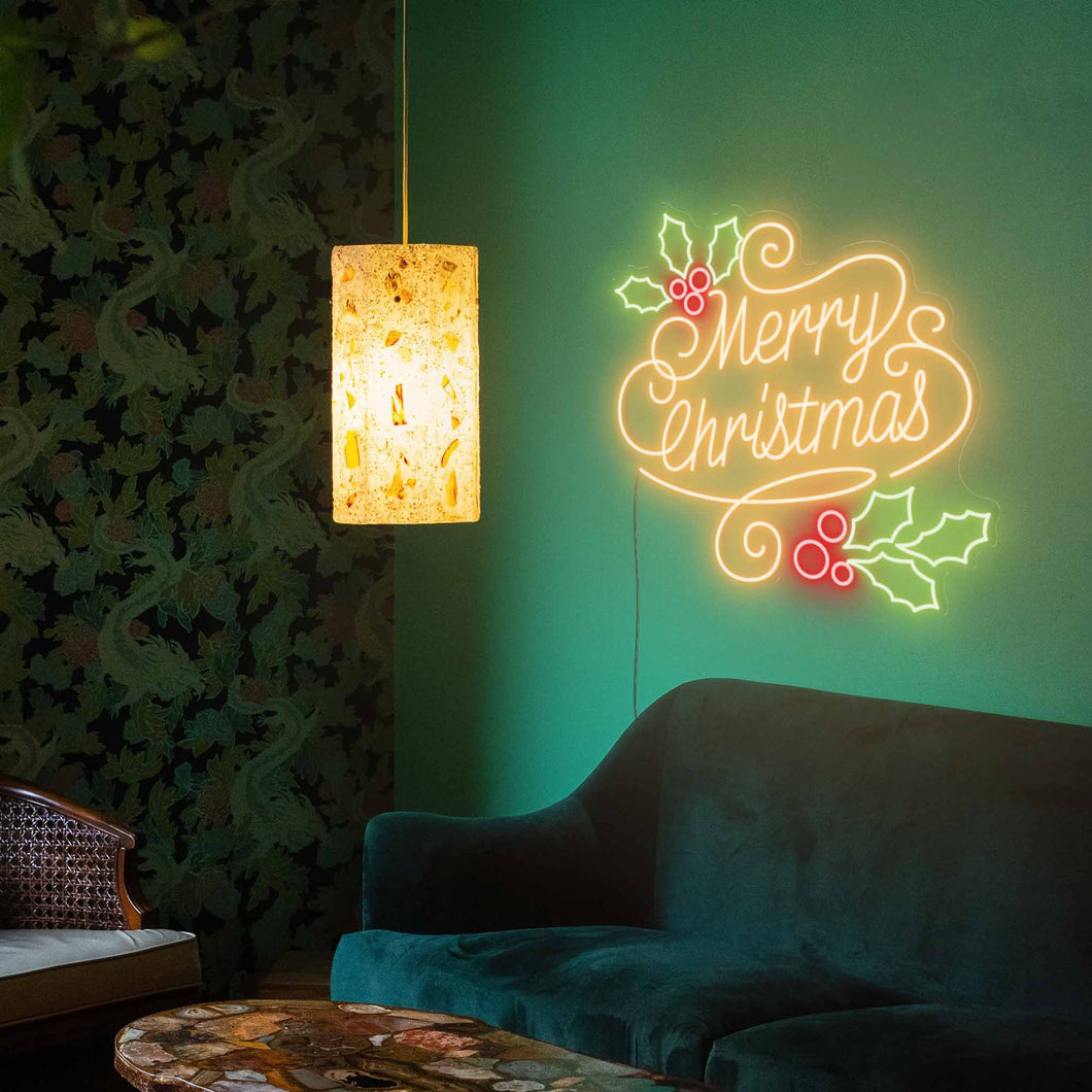 "Christmas Greetings The Neon Studio Large: W 100cm * H 93cm / 39"" 37"" Gold Red & Green Clear Acrylic - Shape of Design"