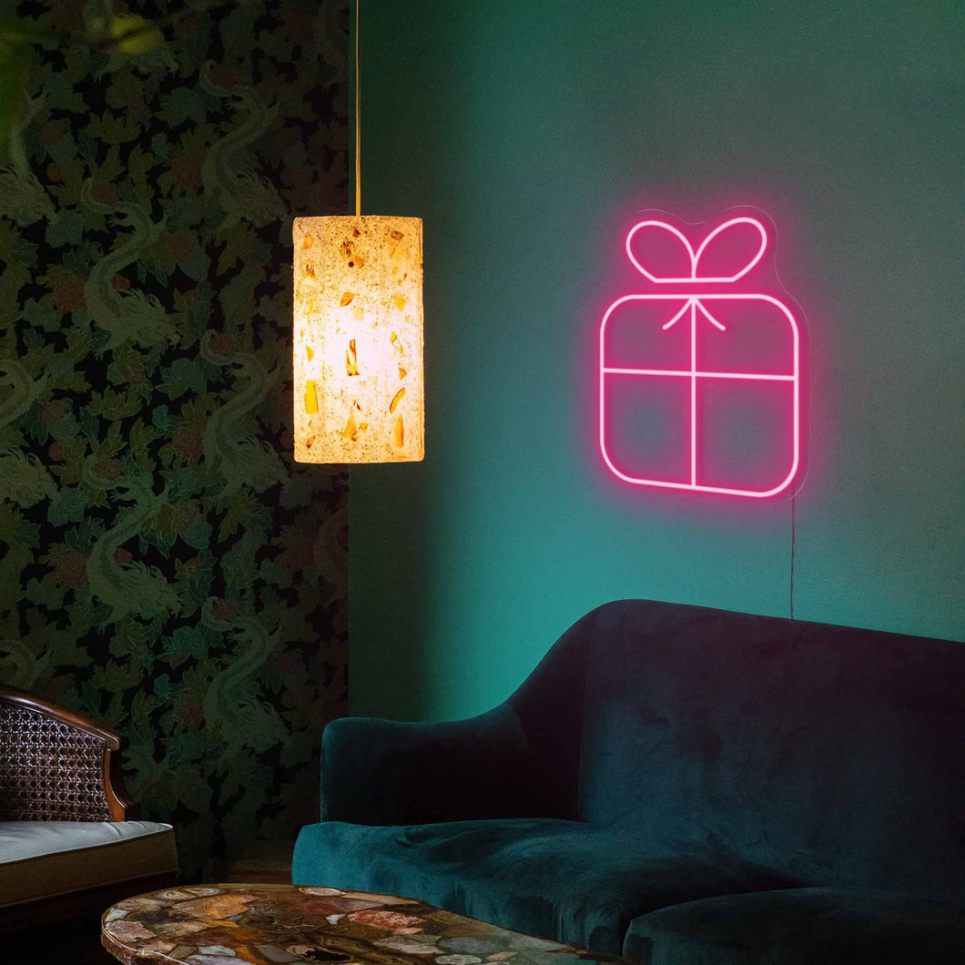 "Christmas Present The Neon Studio Large: W 80cm * H 100cm / 31"" 39"" Hot Pink Clear Acrylic - Shape of Design"