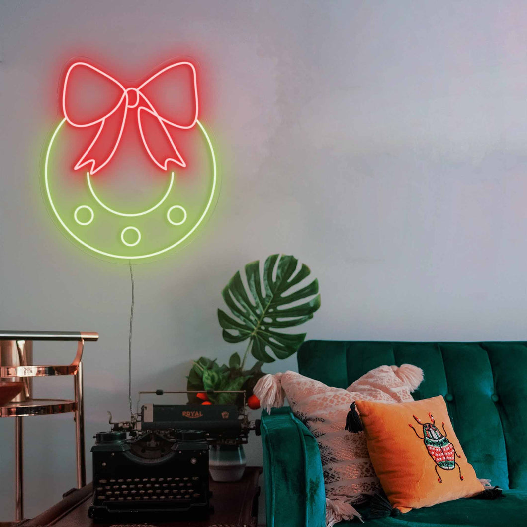 "Christmas Wreath The Neon Studio Large: W 87cm * H 100cm / 34"" 39"" Red & Green Clear Acrylic - Shape of Design"