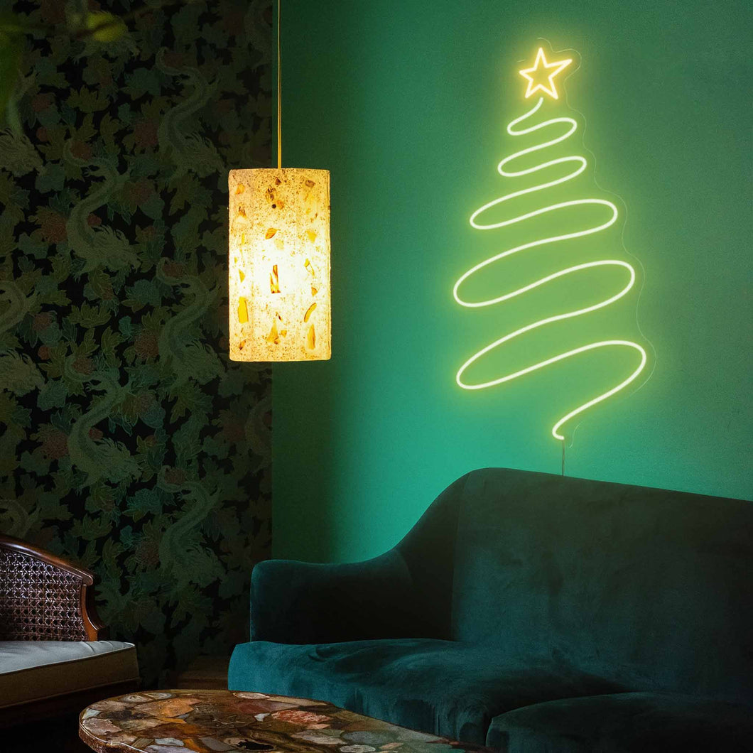 "Curly Christmas Tree The Neon Studio Large: W 53cm * H 100cm / 21"" 39"" Yellow & Green Clear Acrylic - Shape of Design"