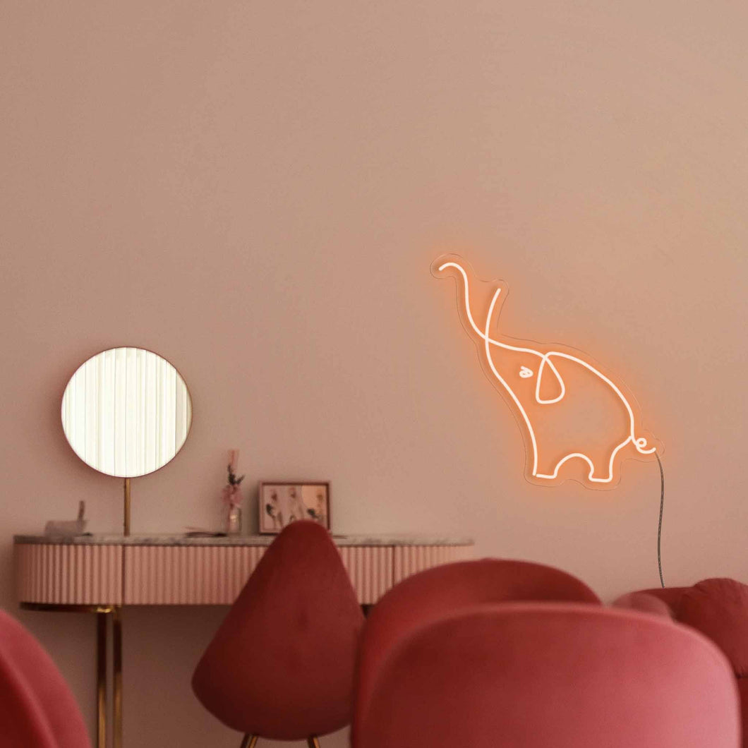 "Elephant The Neon Studio Large: W 84cm * H 85cm / 33"" 34"" Orange Clear Acrylic - Shape of Design"