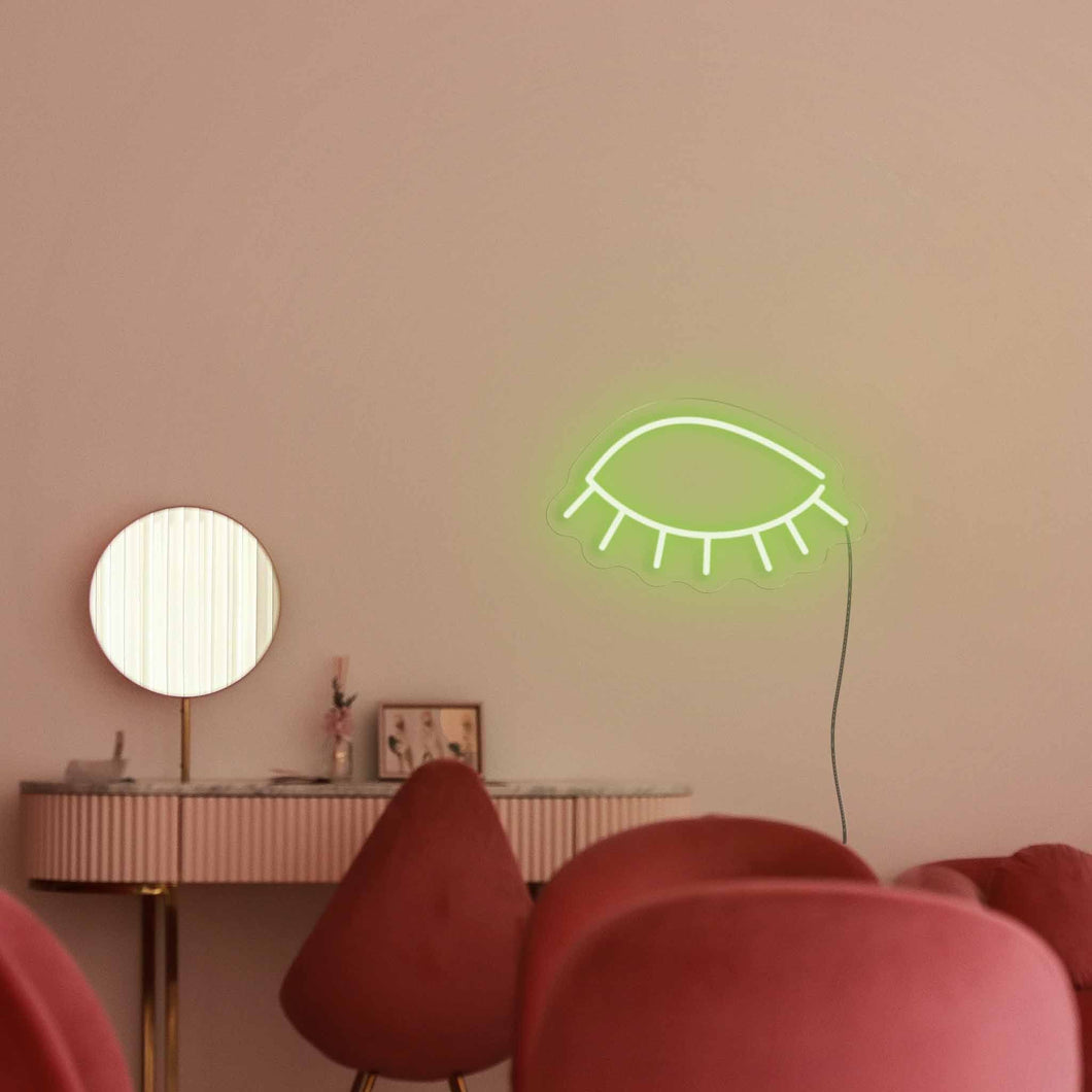 "Eyes Close The Neon Studio Large: W 85cm * H 46cm / 33"" 18"" Green Clear Acrylic - Shape of Design"