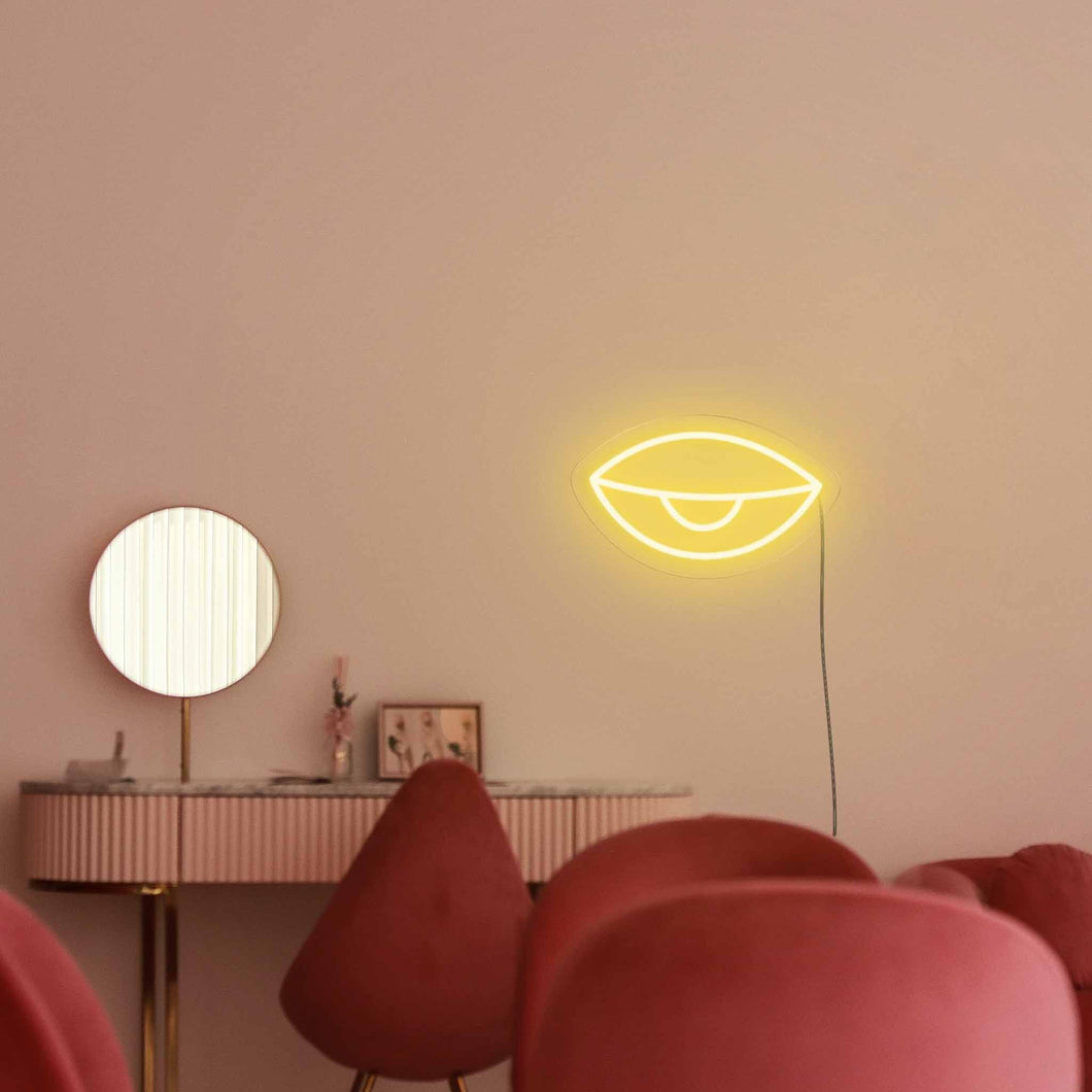 "Eyes Half Open The Neon Studio Large: W 85cm * H 45cm / 33"" 18"" Yellow Clear Acrylic - Shape of Design"