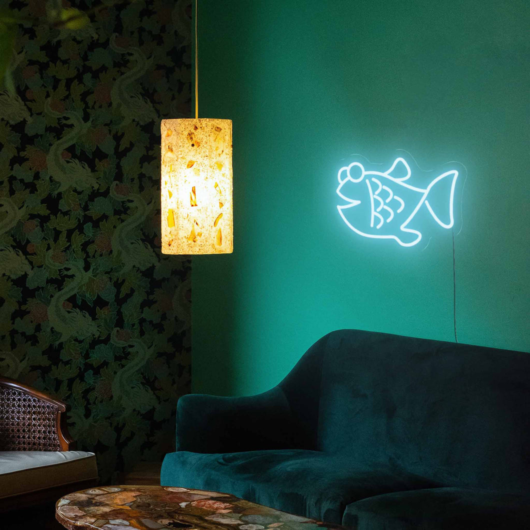"Fish The Neon Studio Large: W 85cm * H 55cm / 33"" 22"" Ice Blue Clear Acrylic - Shape of Design"