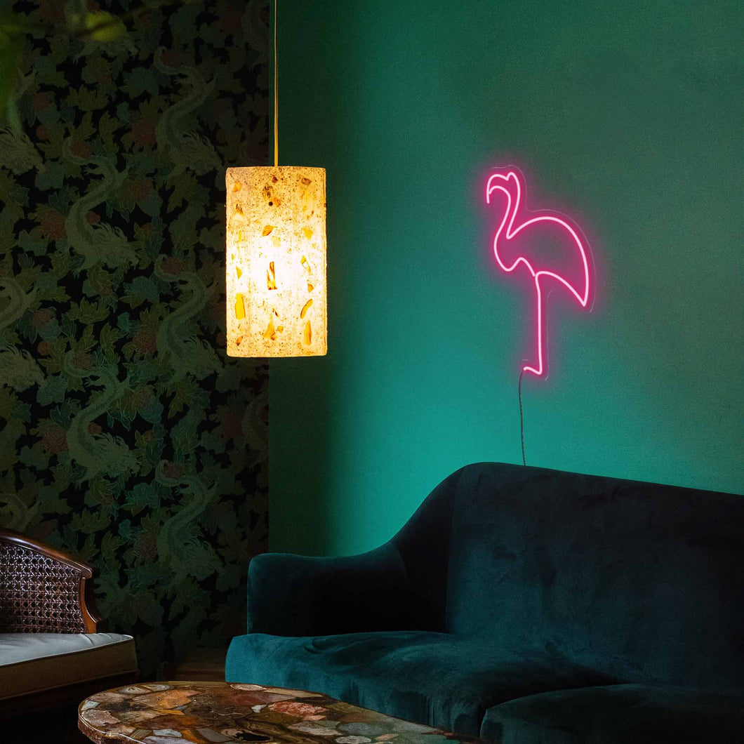 "Flamingo The Neon Studio Large: W 45cm * H 85cm / 18"" 33"" Hot Pink Clear Acrylic - Shape of Design"