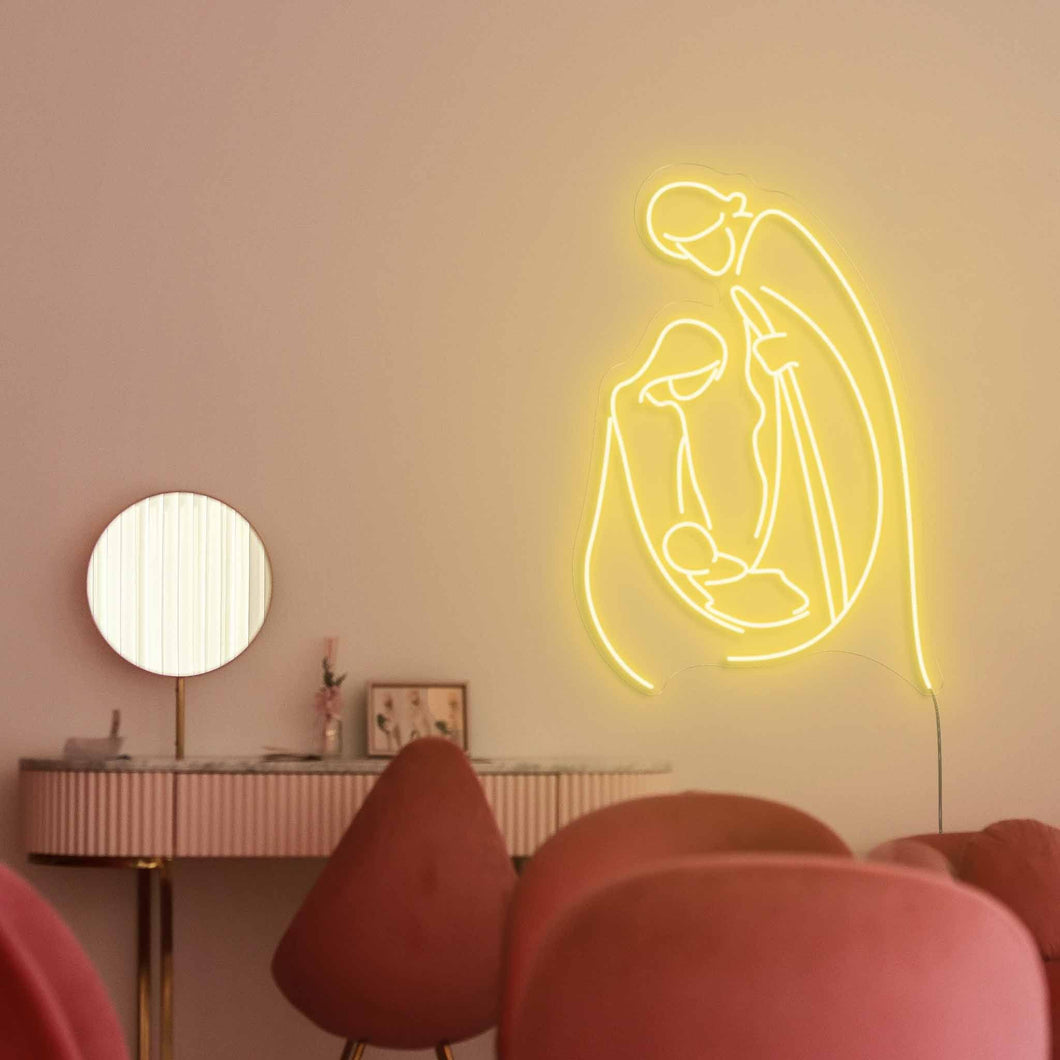 "Holy Family Nativity The Neon Studio Large: W 78cm * H 115cm / 31"" 45"" Yellow Clear Acrylic - Shape of Design"