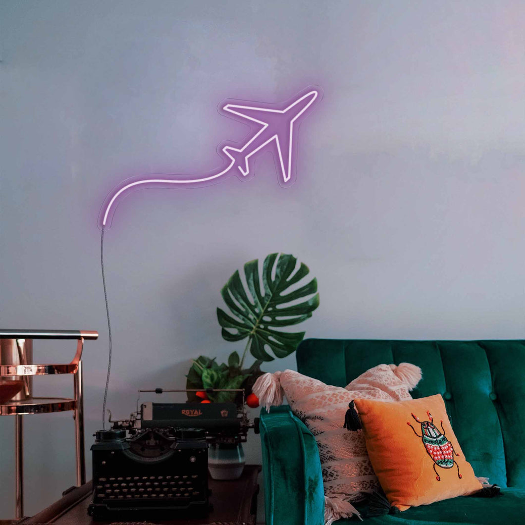 "Jet Plane The Neon Studio Large: W 85cm * H 53cm / 33"" 21"" Purple Clear Acrylic - Shape of Design"