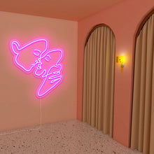 "Load image into Gallery viewer, Kiss The Neon Studio Medium: W 74cm * H 80cm / 29"" * 31"" Hot Pink Clear Acrylic - Shape of Design"