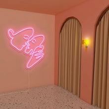 "Load image into Gallery viewer, Kiss The Neon Studio Medium: W 74cm * H 80cm / 29"" * 31"" Light (Peach Pink) Clear Acrylic - Shape of Design"