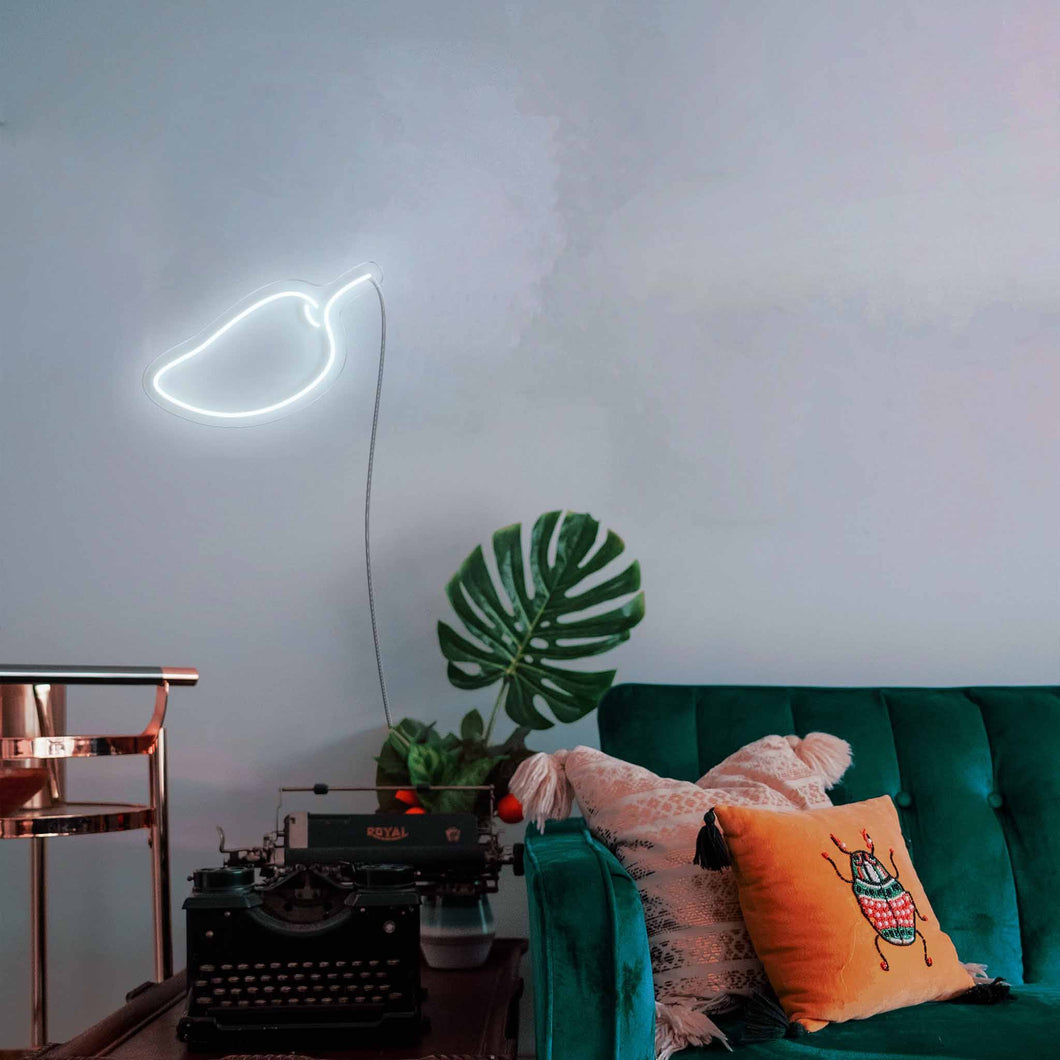 "Mango The Neon Studio Large: W 85cm * H 55cm / 33"" 22"" Cool White Clear Acrylic - Shape of Design"