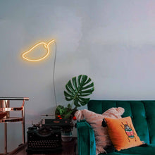 "Load image into Gallery viewer, Mango The Neon Studio Large: W 85cm * H 55cm / 33"" 22"" Gold Yellow Clear Acrylic - Shape of Design"