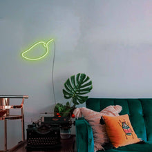 "Load image into Gallery viewer, Mango The Neon Studio Large: W 85cm * H 55cm / 33"" 22"" Green Clear Acrylic - Shape of Design"