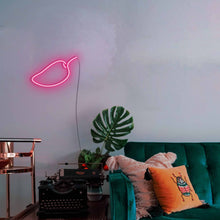 "Load image into Gallery viewer, Mango The Neon Studio Large: W 85cm * H 55cm / 33"" 22"" Hot Pink Clear Acrylic - Shape of Design"