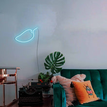 "Load image into Gallery viewer, Mango The Neon Studio Large: W 85cm * H 55cm / 33"" 22"" Ice Blue Clear Acrylic - Shape of Design"