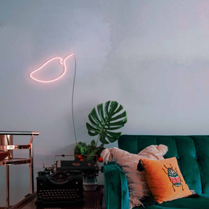 "Mango The Neon Studio Large: W 85cm * H 55cm / 33"" 22"" Peach Pink Clear Acrylic - Shape of Design"