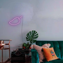 "Load image into Gallery viewer, Mango The Neon Studio Large: W 85cm * H 55cm / 33"" 22"" Purple Clear Acrylic - Shape of Design"
