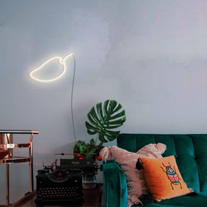 "Mango The Neon Studio Large: W 85cm * H 55cm / 33"" 22"" Warm White Clear Acrylic - Shape of Design"