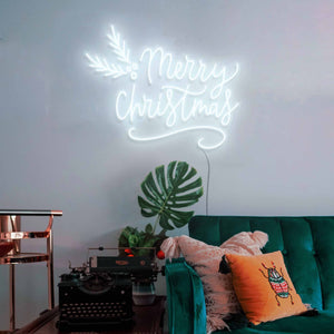 "Merry Christmas The Neon Studio Large: W 115cm * H 92cm / 45"" 36"" Cool White Clear Acrylic - Shape of Design"
