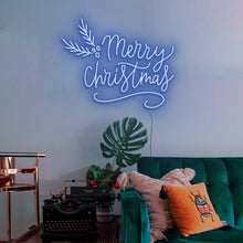 "Load image into Gallery viewer, Merry Christmas The Neon Studio Large: W 115cm * H 92cm / 45"" 36"" Dark Blue Clear Acrylic - Shape of Design"