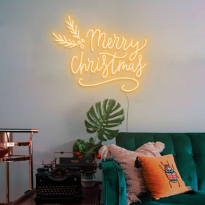 "Merry Christmas The Neon Studio Large: W 115cm * H 92cm / 45"" 36"" Gold Yellow Clear Acrylic - Shape of Design"