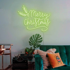 "Merry Christmas The Neon Studio Large: W 115cm * H 92cm / 45"" 36"" Green Clear Acrylic - Shape of Design"