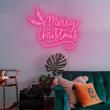 "Load image into Gallery viewer, Merry Christmas The Neon Studio Large: W 115cm * H 92cm / 45"" 36"" Hot Pink Clear Acrylic - Shape of Design"