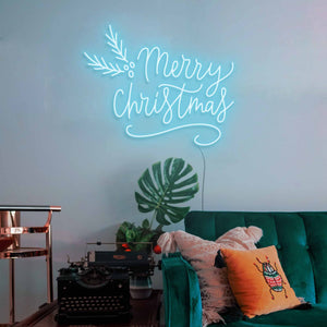 "Merry Christmas The Neon Studio Large: W 115cm * H 92cm / 45"" 36"" Ice Blue Clear Acrylic - Shape of Design"