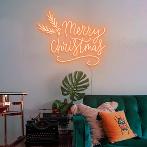 "Merry Christmas The Neon Studio Large: W 115cm * H 92cm / 45"" 36"" Orange Clear Acrylic - Shape of Design"