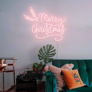 "Merry Christmas The Neon Studio Large: W 115cm * H 92cm / 45"" 36"" Peach Pink Clear Acrylic - Shape of Design"