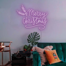 "Load image into Gallery viewer, Merry Christmas The Neon Studio Large: W 115cm * H 92cm / 45"" 36"" Purple Clear Acrylic - Shape of Design"