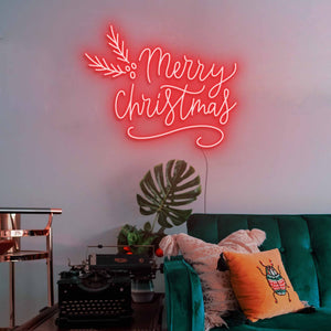 "Merry Christmas The Neon Studio Large: W 115cm * H 92cm / 45"" 36"" Red Clear Acrylic - Shape of Design"