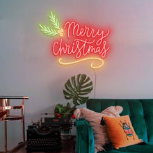 "Load image into Gallery viewer, Merry Christmas The Neon Studio Large: W 115cm * H 92cm / 45"" 36"" Red Yellow & Green Clear Acrylic - Shape of Design"