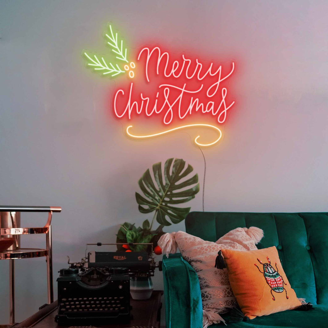 "Merry Christmas The Neon Studio Large: W 115cm * H 92cm / 45"" 36"" Red Yellow & Green Clear Acrylic - Shape of Design"