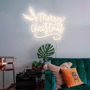 "Merry Christmas The Neon Studio Large: W 115cm * H 92cm / 45"" 36"" Warm White Clear Acrylic - Shape of Design"