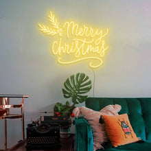 "Load image into Gallery viewer, Merry Christmas The Neon Studio Large: W 115cm * H 92cm / 45"" 36"" Yellow Clear Acrylic - Shape of Design"