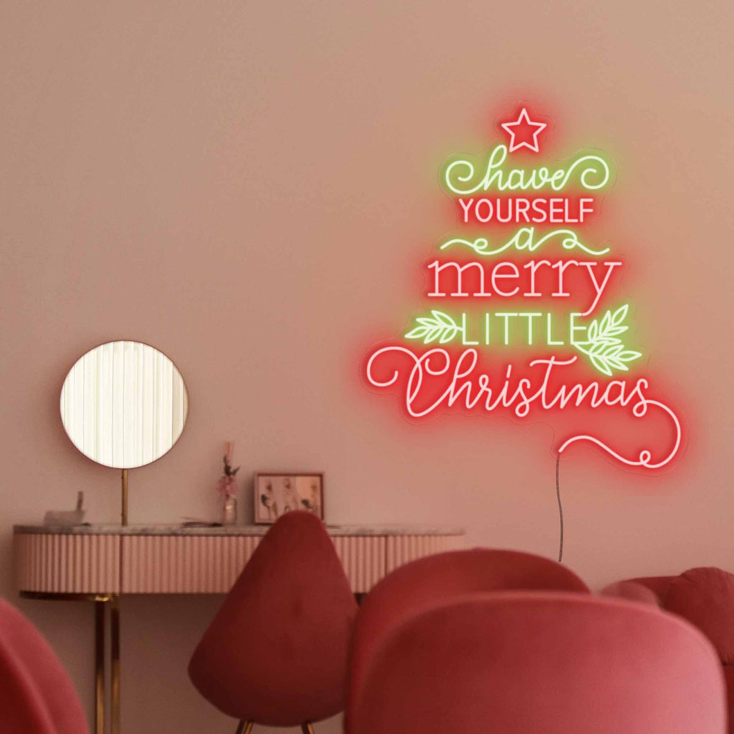 "Merry Christmas Tree The Neon Studio Large: W 100cm * H 115cm / 39"" 45"" Red & Green Cleat Acrylic - Shape of Design"
