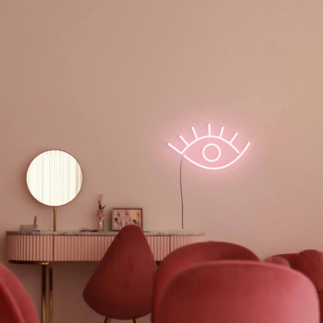"Open Eyes The Neon Studio Large: W 85cm * H 47cm / 33"" 19"" Peach Pink Clear Acrylic - Shape of Design"
