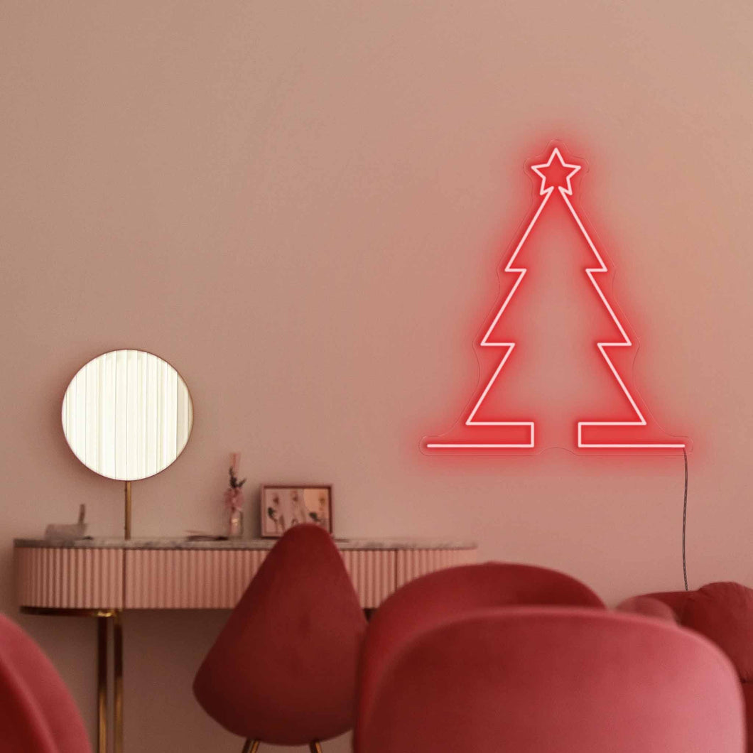 "Pine Christmas Tree The Neon Studio Large: W 86cm * H 100cm / 34"" 39"" Red Clear Acrylic - Shape of Design"