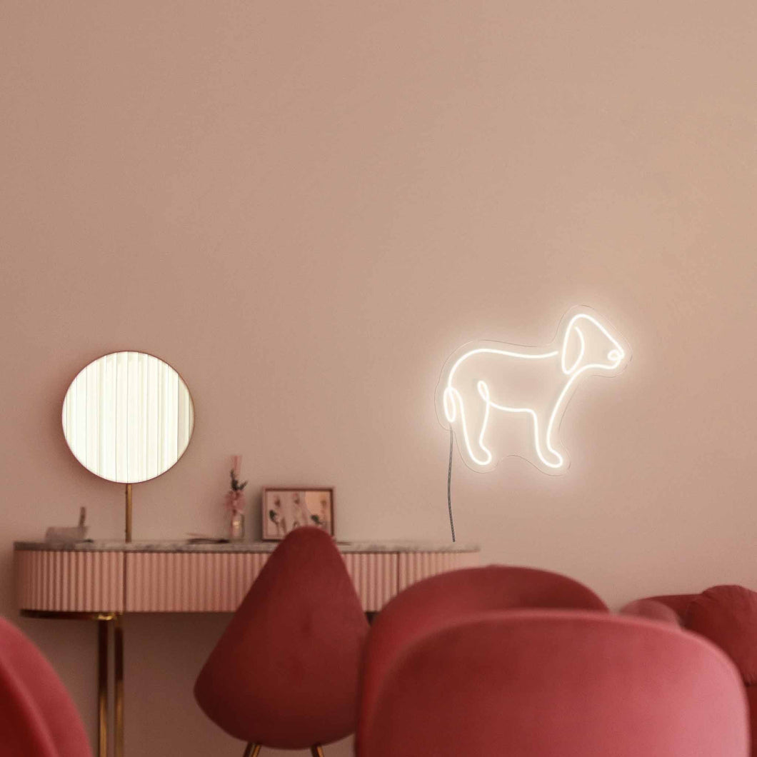 "Puppy The Neon Studio Large: W 85cm * H 72cm / 39"" 28"" Warm White Clear Acrylic - Shape of Design"