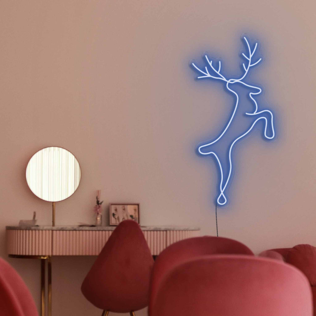 "Reindeer The Neon Studio Large: W 56cm * H 115cm / 22"" 45"" Dark Blue Clear Acrylic - Shape of Design"