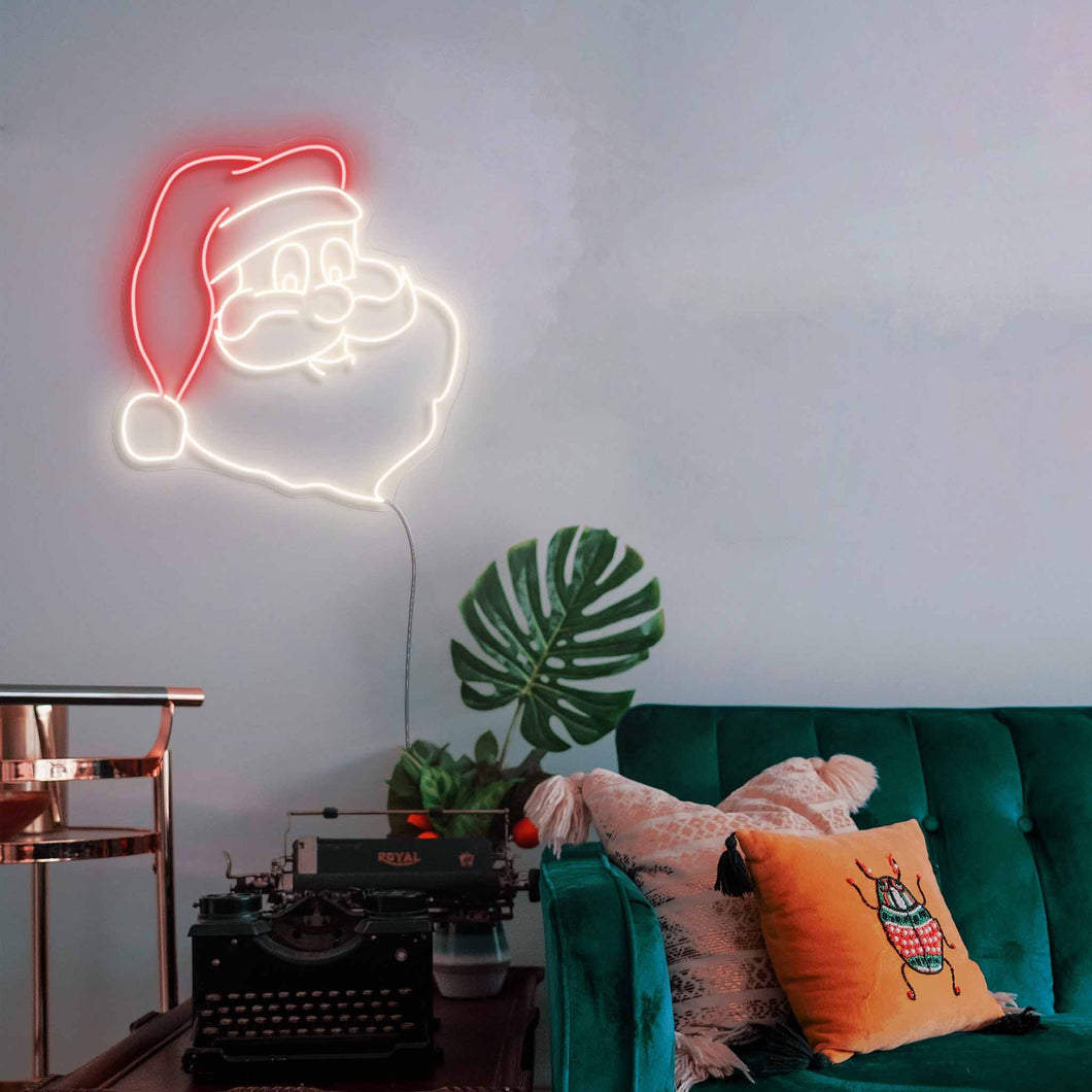 "Santa Claus The Neon Studio Small: W 62cm * H 65cm / 24"" 26"" Red & Warm White Clear Acrylic - Shape of Design"