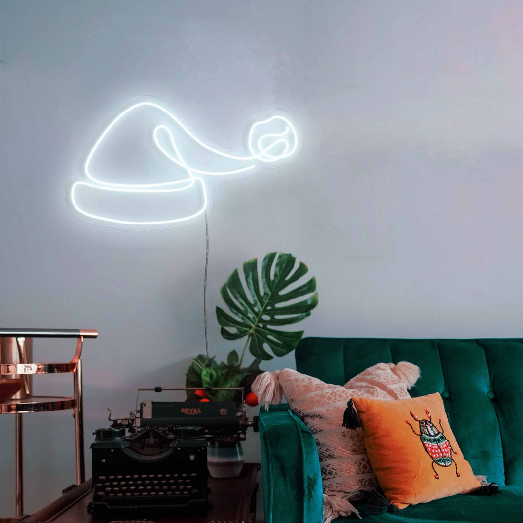 "Santa Hat The Neon Studio Large: W 100cm * H 54cm / 39"" 21"" Cool White Clear Acrylic - Shape of Design"