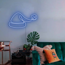 "Load image into Gallery viewer, Santa Hat The Neon Studio Large: W 100cm * H 54cm / 39"" 21"" Dark Blue Clear Acrylic - Shape of Design"