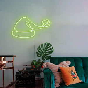 "Santa Hat The Neon Studio Large: W 100cm * H 54cm / 39"" 21"" Green Clear Acrylic - Shape of Design"