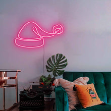 "Load image into Gallery viewer, Santa Hat The Neon Studio Large: W 100cm * H 54cm / 39"" 21"" Hot Pink Clear Acrylic - Shape of Design"