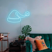"Load image into Gallery viewer, Santa Hat The Neon Studio Large: W 100cm * H 54cm / 39"" 21"" Ice Blue Clear Acrylic - Shape of Design"