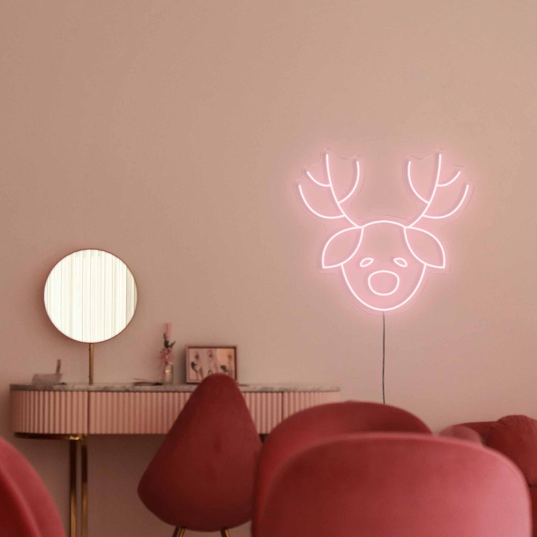 "Santa's Reindeer The Neon Studio Large: W 100cm * H 92cm / 39"" 36"" Peach Pink Clear Acrylic - Shape of Design"