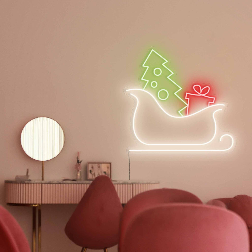 "Santa's Sleigh The Neon Studio Large: W 100cm * H 95cm / 39"" 37"" Red Green & White Clear Acrylic - Shape of Design"