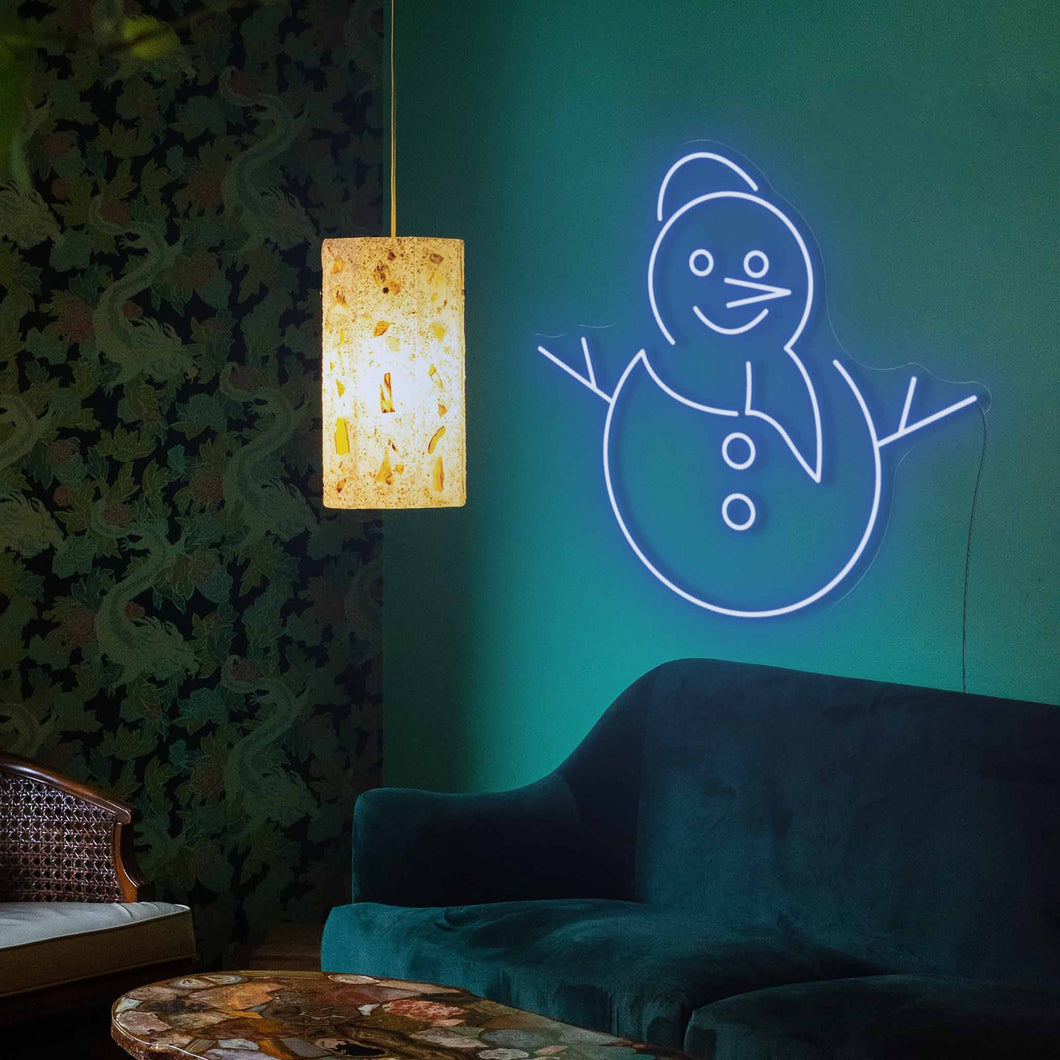 "Smiley Snowman The Neon Studio Small: W 65cm * H 63cm / 26"" 25"" Dark Blue Clear Acrylic - Shape of Design"